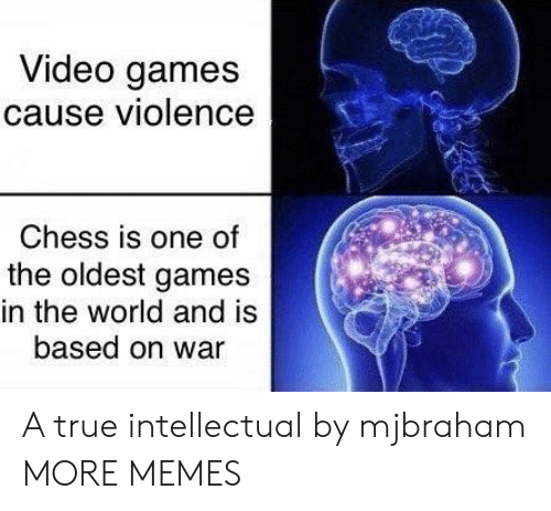 The Oldest: Video games  cause violence  Chess is one of  the oldest games  in the world and is  based on war A true intellectual by mjbraham MORE MEMES