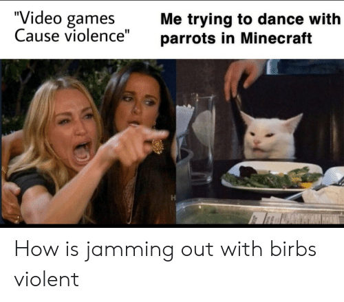 "jamming: ""Video games  Cause violence""  Me trying to dance with  parrots in Minecraft How is jamming out with birbs violent"