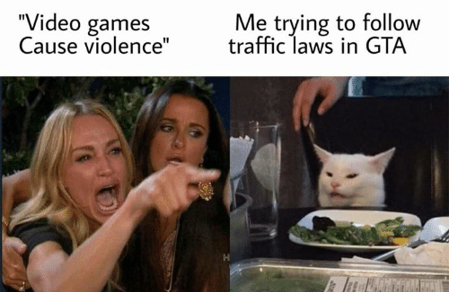 "Memes, Traffic, and Video Games: ""Video games  Cause violence""  Me trying to follow  traffic laws in GTA  J0y"
