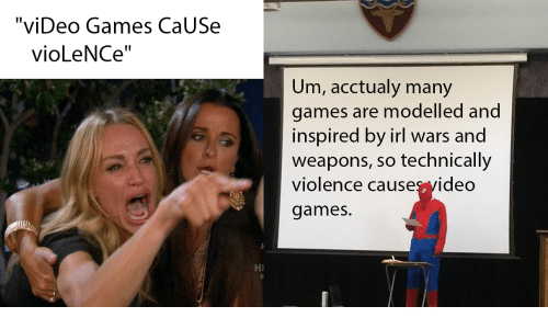 """Video Games, Games, and Video: """"viDeo Games CaUSe  vioLeNCe""""  Um, acctualy many  games are modelled and  inspired by irl wars and  weapons, so technically  violence causes yideo  games.  HI"""