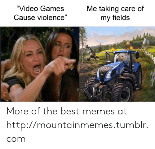 "Fields: ""Video Games  Me taking care of  my fields  Cause violence""  7 More of the best memes at http://mountainmemes.tumblr.com"