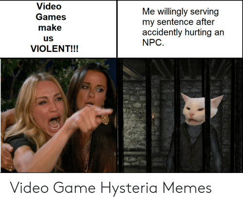 Serving: Video  Me willingly serving  my sentence after  accidently hurting an  NPC  Games  make  us  VIOLENT!!! Video Game Hysteria Memes