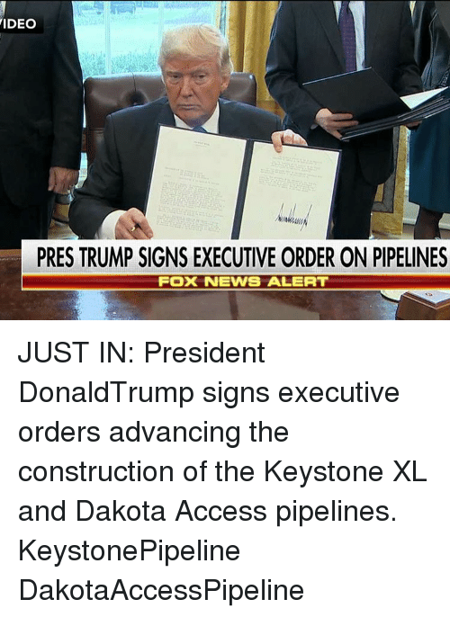 Dakota Access pipeline: VIDEO  PRES TRUMP SIGNS EXECUTIVE ORDER ON PIPELINES  Fox NEWS ALERT JUST IN: President DonaldTrump​ signs executive orders advancing the construction of the Keystone XL and Dakota Access pipelines. KeystonePipeline DakotaAccessPipeline