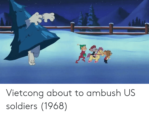Soldiers, Vietcong, and About To: Vietcong about to ambush US soldiers (1968)