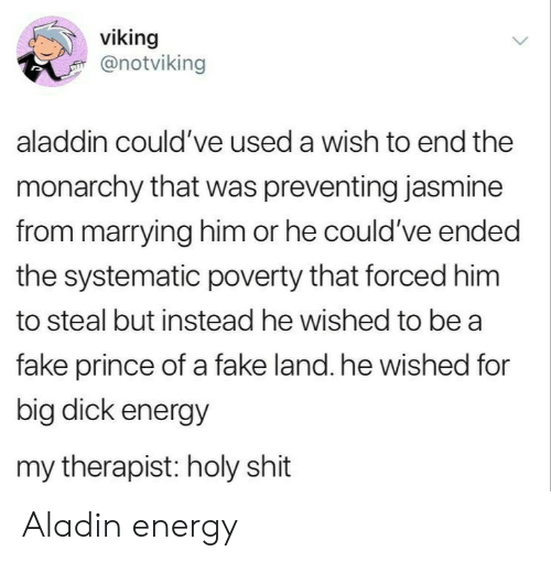 Aladdin, Big Dick, and Energy: viking  @notviking  aladdin could've used a wish to end the  monarchy that was preventing jasmine  from marrying him or he could've ended  the systematic poverty that forced him  to steal but instead he wished to be a  fake prince of a fake land. he wished for  big dick energy  my therapist: holy shit Aladin energy