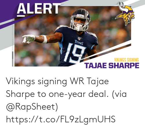 One Year: Vikings signing WR Tajae Sharpe to one-year deal. (via @RapSheet) https://t.co/FL9zLgmUHS