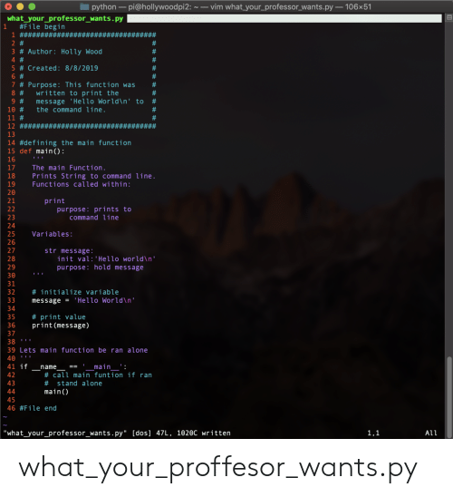 "Being Alone, Hello, and World: vim what your_professor_wants.py 106x51  python pi@hollywoodpi2:  what_your_professor_wants.py  #File begin  1 ## #*#####  1  ####  2 #  #  3 # Author: Holly Wood  4 #  #  #  5 # Created: 8/8/2019  #  6 #  7 # Purpose: This function was  written to print the  message 'Hello World\n' to  the command line.  #  8 #  #  9 #  #  10 #  11 #  #  12 #########  13  14 #defining the main function  15 def main():  16  17  The main Function.  Prints String to command line.  Functions called within:  18  19  20  print  purpose: prints to  command line  21  22  23  24  25  Variables:  26  27  str message:  init val:'Hello world\n'  purpose: hold message  28  29  30  31  32  # initialize variable  33  message = 'Hello World\n'  34  35  # print value  print(message)  36  37  38  39 Lets main function be ran alone  40  41 if  _main__':  # call main funtion if ran  name  42  43  stand alone  #  main(  44  45  46 #File end  ""what_your_professor_wants.py"" [dos] 47L, 1020c written  1,1  All what_your_proffesor_wants.py"