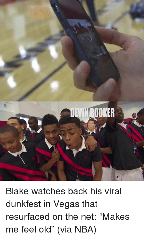 """Nba, Las Vegas, and Watches: VIN BOOKER Blake watches back his viral dunkfest in Vegas that resurfaced on the net: """"Makes me feel old"""" (via NBA)"""
