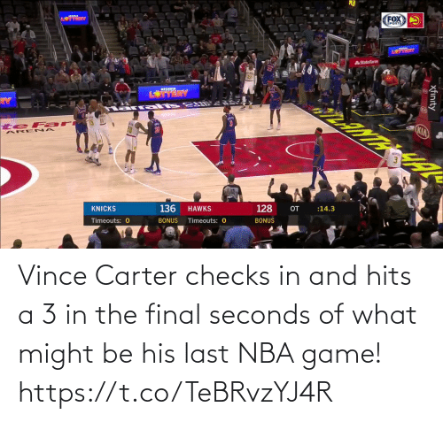 Hits: Vince Carter checks in and hits a 3 in the final seconds of what might be his last NBA game!   https://t.co/TeBRvzYJ4R