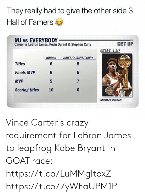 james: Vince Carter's crazy requirement for LeBron James to leapfrog Kobe Bryant in GOAT race: https://t.co/LuMMgItoxZ https://t.co/7yWEaUPM1P