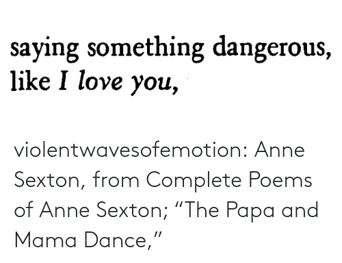 "papa: violentwavesofemotion:    Anne Sexton, from Complete Poems of Anne Sexton; ""The Papa and Mama Dance,"""