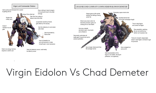 Paling: Virain Lord Commander Eidolon  CHAD SECOND COMPANY COMMANDER SOLOMON DEMETER  Uses a jump pack because he's scared  of getting shot at  Does nothing to help his legion,  or his primarch due to his pride  and ego  Exemplary space marine hair  Always goes up the center  relishes the feeling of being  under fire  Greasy, Emo white hair  Shrieks like  a filthy xeno  Pale Skin from sitting in  fabius's lab all the time  beautiful tanned skin  from all the campaigns fought  sycophantic towards primarch  gets killed by him anyway  Shuts lucius down when he  becomes pompous, goes out  choking him to near death  Tries to help fulgrim  and correct his legion  Doesn't  maintain his own  gear  Has the indecency to come back  after killed  Survives a deadly  stormbird crash, virus bomb  and a firestorm  Dies peacefully, watching  the sun set and the sky  darken as he passes way  Gets dominated by  Fabius Bile  Personally customizes all  battle gear for good luck and to  achieve perfection  Thinks for himself, independant  doesn't need higher command to get  his job done  Has to Embellish his  own achivements to make  himself seem more impressive  has a longer chainsword than  the average marine  Has a sergeant as  cool as hinm  Small, low energy hammer,  requires no skill to use  Gets shit talked by lucius, could easily  be killed by lucius  Ideal representative of his  legion's core ideals, striving for  perfection, not superiority Virgin Eidolon Vs Chad Demeter