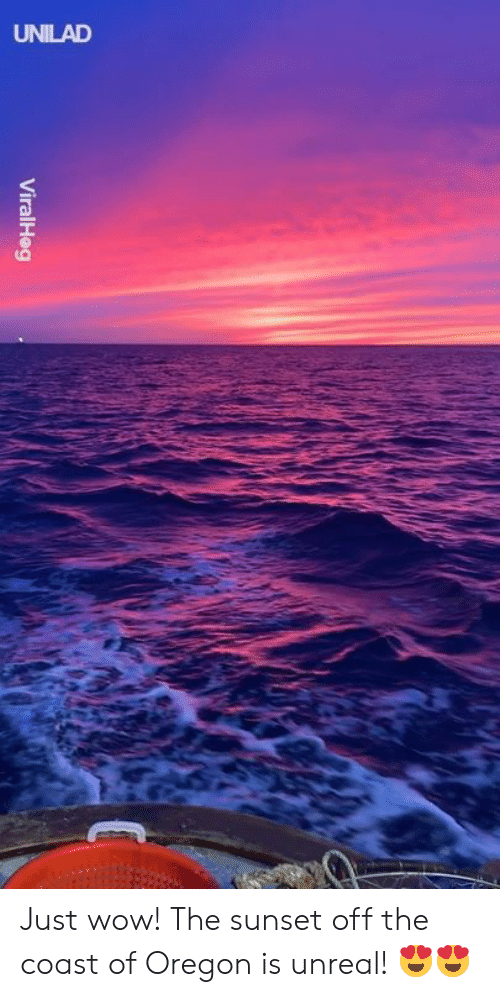 Dank, Wow, and Oregon: ViralHeg Just wow! The sunset off the coast of Oregon is unreal! 😍😍
