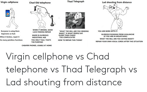 Telegraph: Virgin cellphone vs Chad telephone vs Thad Telegraph vs Lad shouting from distance