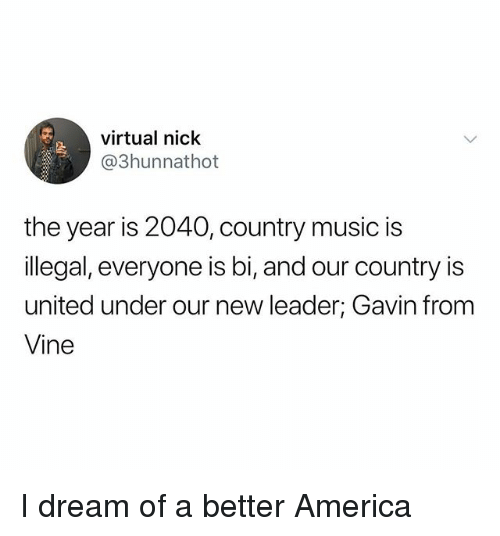 America, Music, and Vine: virtual nick  @3hunnathot  the year is 2040, country music is  llegal, everyone is bi, and our country is  united under our new leader; Gavin from  Vine I dream of a better America