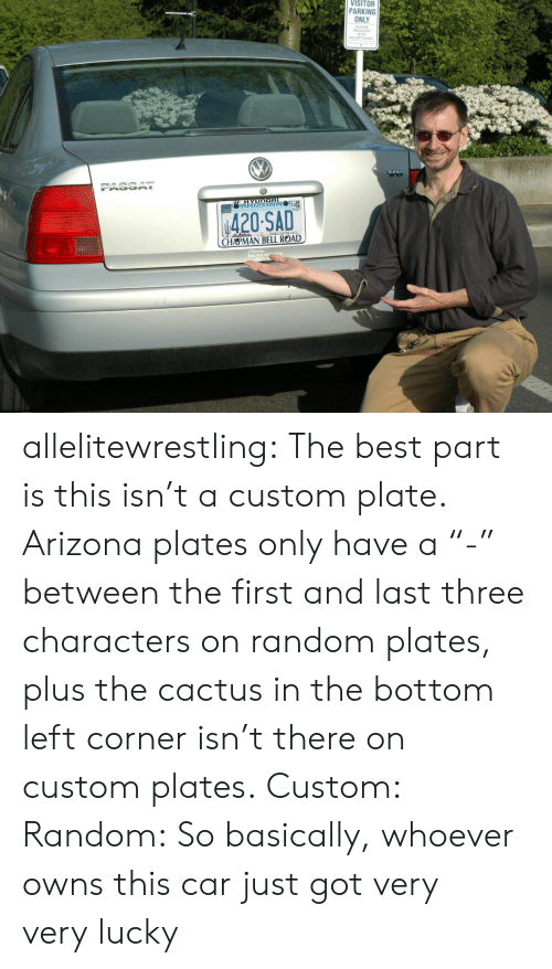"""Tumblr, Arizona, and Best: VISITOR  PARKING  ONLY  PLEASE  REGISTER  WITH  RECEPTIONIST  ψ420SAD  CHAPMAN BELL ROAD  MAUND I allelitewrestling: The best part is this isn't a custom plate. Arizona plates only have a""""-"""" between the first and last three characters on random plates, plusthe cactus in the bottom left corner isn't there on custom plates. Custom: Random: So basically, whoever owns this car just got very verylucky"""