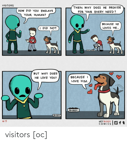 loves: VISITORS  THEN WHY DOES HE PROVIDE  HOW DID YOU ENSLAVE  FOR YOUR EVERY NEED?  YOUR HUMAN?  BECAUSE HE  I DID NOT.  LOVES ME.  BUODY UOY  BUT WHY DOES  HE LOVE YOU?  BECAUSE I  LOVE HIM.  BUDDY  BUDDY  2414  #15  HEYBUDDY  COMICS visitors [oc]