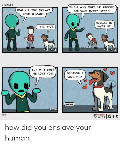 i did: VISITORS  THEN WHY DOES HE PROVIDE  HOW DID YOU ENSLAVE  FOR YOUR EVERY NEED?  YOUR HUMAN?  BECAUSE HE  I DID NOT.  LOVES ME.  BUODY UOY  BUT WHY DOES  HE LOVE YOU?  BECAUSE I  LOVE HIM.  BUDDY  BUDDY  2414  #15  HEYBUDDY  COMICS how did you enslave your human