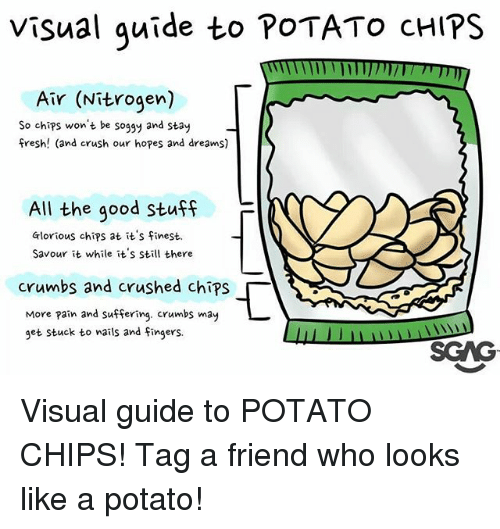 Crush, Fresh, and Memes: Visual quide to POTATO cHIPS  Air (Nitrogen)  So chips won't be soggy and stay  fresh! (and crush our hopes and dreams)  All the good Stuff  F  Glorious chips at it's finest.  Savour it while it's still there  crumbs and crushed chips「  More pain and suffering. crumbs may  get stuck to wails and Fingers.  SGAG Visual guide to POTATO CHIPS! Tag a friend who looks like a potato!