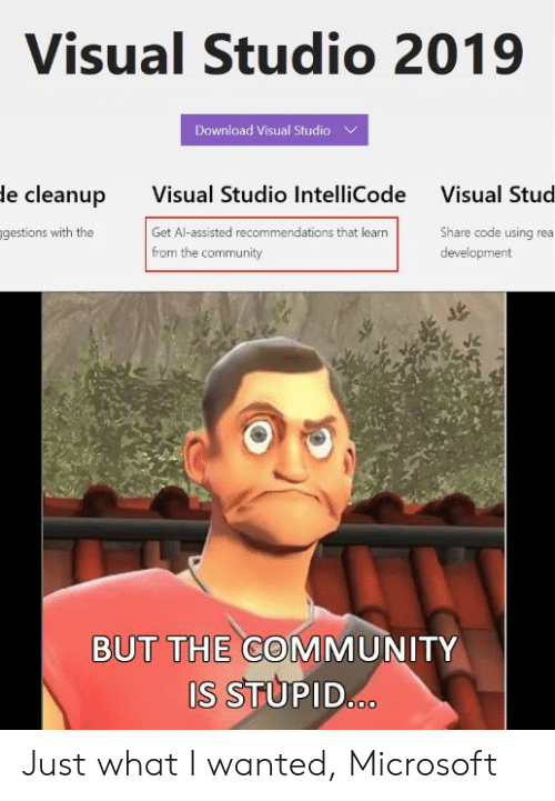visual studio: Visual Studio 2019  Download Visual Studio  Visual Studio IntelliCode  Get Al-assisted recommendations that learn  from the community  le cleanup  Visual Stud  gestions with the  Share code using rea  development  BUT THE COMMUNITY  S STUPID Just what I wanted, Microsoft