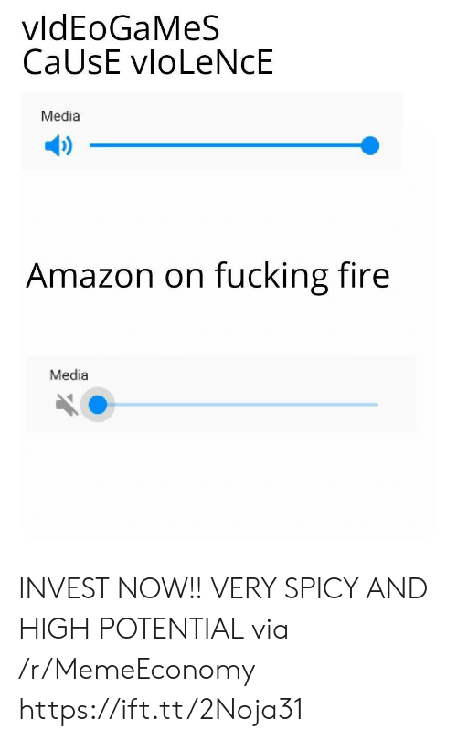 Amazon, Fire, and Fucking: vldEoGaMeS  CaUsE vloLeNcE  Media  Amazon on fucking fire  Media INVEST NOW!! VERY SPICY AND HIGH POTENTIAL via /r/MemeEconomy https://ift.tt/2Noja31