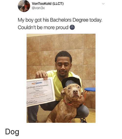 Proudness: VonTooKold (LLCT)  @von3x  My boy got his Bachelors Degree today.  Couldn't be more proud  PETSMART  Certificate of Achievement  This certies h  Kane Dog