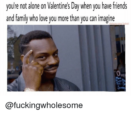 Alone On Valentines Day: vou re not alone on Valentines Day when you have friends  and family who love you more than you can imagine  memes @fuckingwholesome