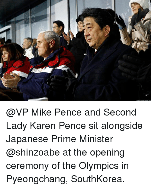 Memes, Japanese, and Olympics: @VP Mike Pence and Second Lady Karen Pence sit alongside Japanese Prime Minister @shinzoabe at the opening ceremony of the Olympics in Pyeongchang, SouthKorea.