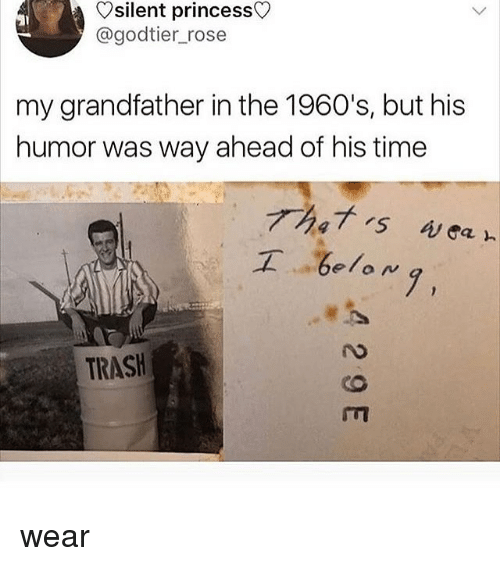Memes, Trash, and Princess: Vsilent princess  @godtier_rose  my grandfather in the 1960's, but his  humor was way ahead of his time  elow  7,  TRASH wear