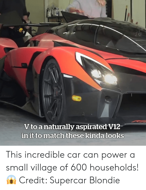 Match, Power, and Car: Vto a naturally aspirated V12  in it to match these kinda looks This incredible car can power a small village of 600 households! 😱  Credit: Supercar Blondie