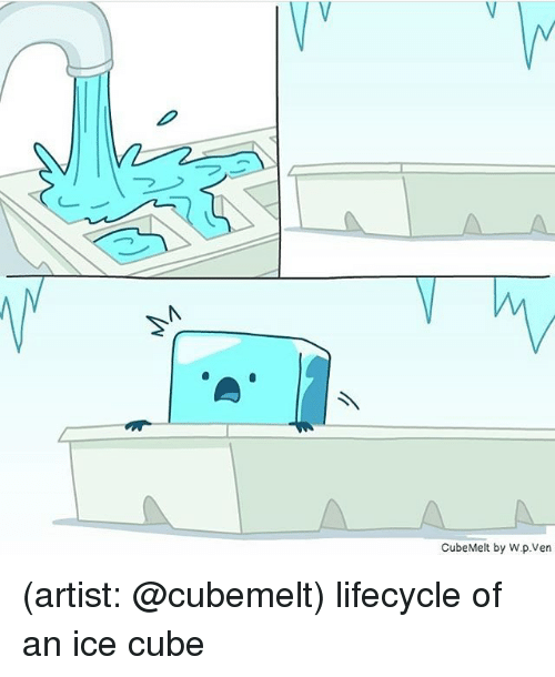 Ice Cube: Vy  /V  CubeMelt by W.p.Ven (artist: @cubemelt) lifecycle of an ice cube
