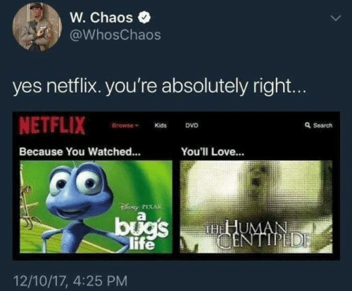 Netflix: W. Chaos  @WhosChaos  yes netflix. you're absolutely right...  NETFLIX  Browne  Q Search  DVD  Kids  Because You Watched...  You'll Love...  DENy PIXAR  bugs  life  HHUMAN  CENTIPEDE  12/10/17, 4:25 PM