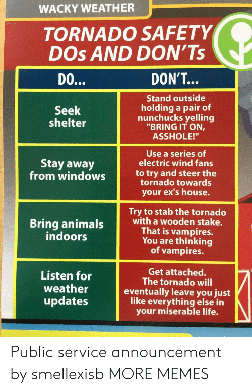 """Ex's: WACKY WEATHER  TORNADO SAFETY  DOs AND DON'Ts  DO  DON'T...  Stand outside  holding a pair of  nunchucks yelling  """"BRING IT ON,  ASSHOLE!""""  Seek  shelter  Use a series of  electric wind fans  Stay away  from windowsto try and steer the  tornado towards  your ex's house.  Try to stab the tornado  with a wooden stake.  That is vampires.  You are thinking  of vampires.  indoors  Listen for  weather  updates  Get attached.  The tornado will  eventually leave you just  like everything else in  your miserable life. Public service announcement by smellexisb MORE MEMES"""