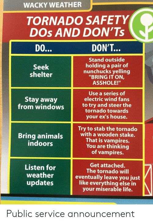 "Indoors: WACKY WEATHER  TORNADO SAFETY  DOs AND DON'Ts  DO  DON'T...  Stand outside  holding a pair of  nunchucks yelling  ""BRING IT ON,  ASSHOLE!""  Seek  shelter  Use a series of  electric wind fans  Stay away  from windowsto try and steer the  tornado towards  your ex's house.  Try to stab the tornado  with a wooden stake.  That is vampires.  You are thinking  of vampires.  indoors  Listen for  weather  updates  Get attached.  The tornado will  eventually leave you just  like everything else in  your miserable life. Public service announcement"