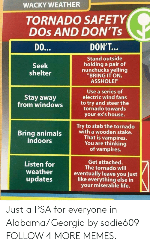"""Listen For: WACKY WEATHER  TORNADO SAFETY  DOs AND DON'Ts  DON'T...  DO...  Stand outside  holding a pair of  nunchucks yelling  """"BRING IT ON,  Seek  shelter  ASSHOLE!""""  Use a series of  electric wind fans  Stay away  from windows  to try and steer the  tornado towards  your ex's house.  Try to stab the tornado  with a wooden stake.  That is vampires.  You are thinking  vampires.  Bring animals  indoors  Get attached.  The tornado will  eventually leave you just  like everything else in  your miserable life.  Listen for  weather  updates Just a PSA for everyone in Alabama/ Georgia by sadie609 FOLLOW 4 MORE MEMES."""