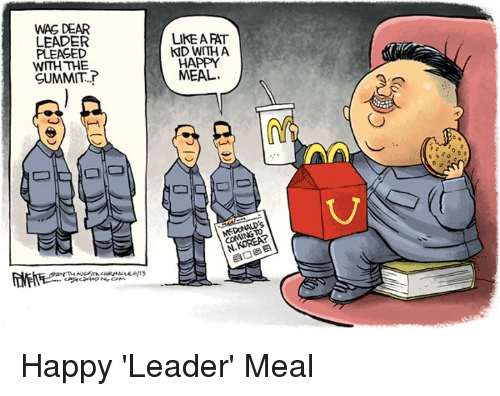 Happy, Fat, and Summit: WAG DEAR  LEADER  PLEASED  WITH THE  SUMMIT.  LIKE A FAT  ND WITH A  HAPPY  MEAL.