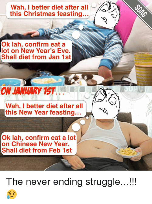 tst: Wah, I better diet after all  y  this Christmas feasting...  Ok lah, confirm eat a  lot on New Year's Eve.  Shall diet from Jan 1st  ON JANUARY TST  Wah, I better diet after all  this New Year feasting...  Ok lah, confirm eat a lot  on Chinese New Year.  Shall diet from Feb 1st The never ending struggle...!!! 😥