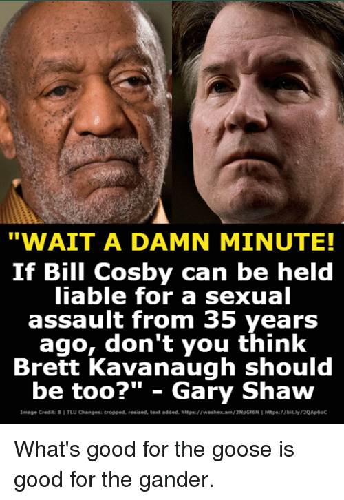 """Bill Cosby, Good, and Image: """"WAIT A DAMN MINUTE!  If Bill Cosby can be held  iable for a sexual  assault from 35 years  ago, don't you think  Brett Kavanaugh should  be too?"""" - Gary Shaw  Image Credita B I TLU Changesi cropped, resized, text added. https://washex.am/2NpGf6N I https:/bit.ly/2QAp6oC What's good for the goose is good for the gander."""
