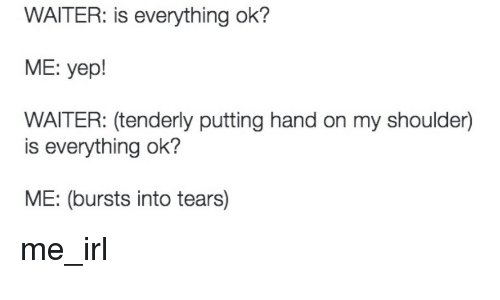 Is Everything Ok: WAITER: is everything ok?  ME: yepl  WAITER: (tenderly putting hand on my shoulder)  is everything ok?  ME: (bursts into tears) me_irl