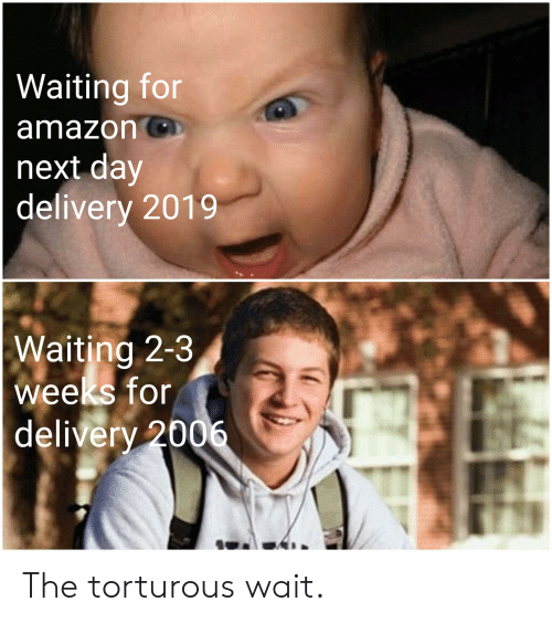 Amazon, Funny, and Waiting...: Waiting for  amazon  next day  delivery 2019  Waiting 2-3  weeks for  delivery 2006 The torturous wait.
