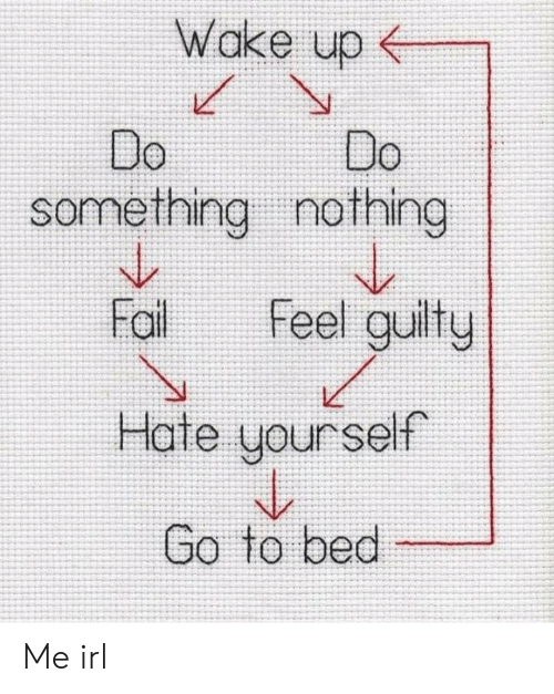 Irl, Me IRL, and Wake: Wake up  Do  something nothing  Fal Feel guilty  Hate yourself  Go to bed Me irl