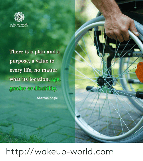 angle: wake up world  TIME TOo sE AND SHINE  There is a plan and a  purpose, a value to  every life, no matter  what its location, age,  gender or disability  - Sharron Angle http://wakeup-world.com