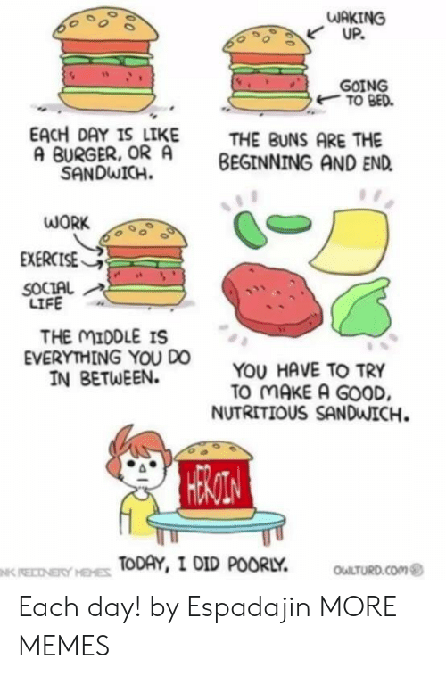Dank, Life, and Memes: WAKING  UP.  GOING  TO BED  EACH DAY IS LIKE  A BURGER, OR A  SANDWICH  THE BUNS ARE THE  BEGINNING AND END  WORK  EXERCISE  SOCIAL  LIFE  THE MIDDLE IS  EVERYTHING YOU DO  IN BETWEEN.  YOU HAVE TO TRY  TO MAKE A GOOD  NUTRITIOUS SANDWICH.  HESTOA  TODAY, I DID POORLY  OULTURD.COM  NK RECNERY HEHES Each day! by Espadajin MORE MEMES