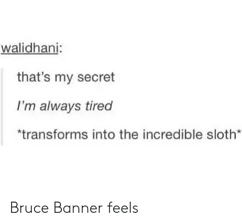 """Thats My Secret: walidhani:  that's my secret  I'm always tired  """"transforms into the incredible sloth* Bruce Banner feels"""