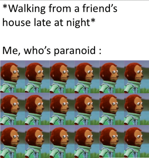 Friends, House, and Paranoid: *Walking from a friend's  house late at night*  Me, who's paranoid