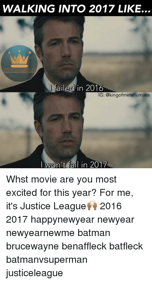 Newyears: WALKING INTO 2017 LIKE...  failed in 2016  IG: @kingofmetahumans  I won't fail in 2017 Whst movie are you most excited for this year? For me, it's Justice League🙌🏾 2016 2017 happynewyear newyear newyearnewme batman brucewayne benaffleck batfleck batmanvsuperman justiceleague