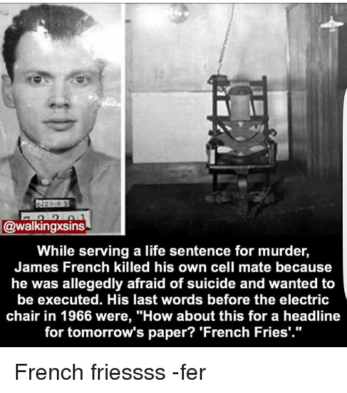 """Life, Memes, and Suicide: @walkingxsins  While serving a life sentence for murder,  James French killed his own cell mate because  he was allegedly afraid of suicide and wanted to  be executed. His last words before the electric  chair in 1966 were, """"How about this for a headline  for tomorrow's paper? 'French Fries'."""" French friessss -fer"""