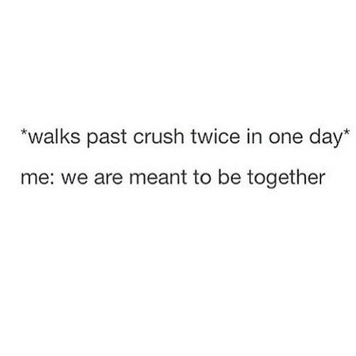 "Crush, One, and One Day: ""walks past crush twice in one day*  me: we are meant to be together"