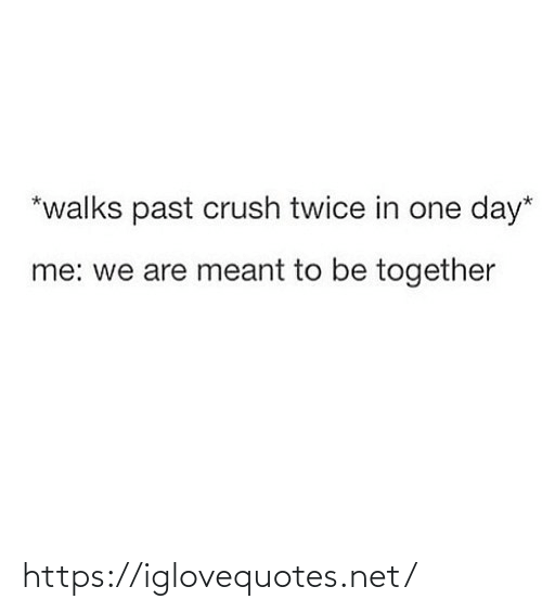 Crush: *walks past crush twice in one day*  me: we are meant to be together https://iglovequotes.net/