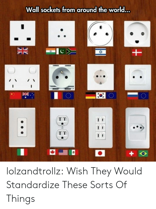 Tumblr, Blog, and World: Wall sockets from around the world...  I T lolzandtrollz:  Wish They Would Standardize These Sorts Of Things